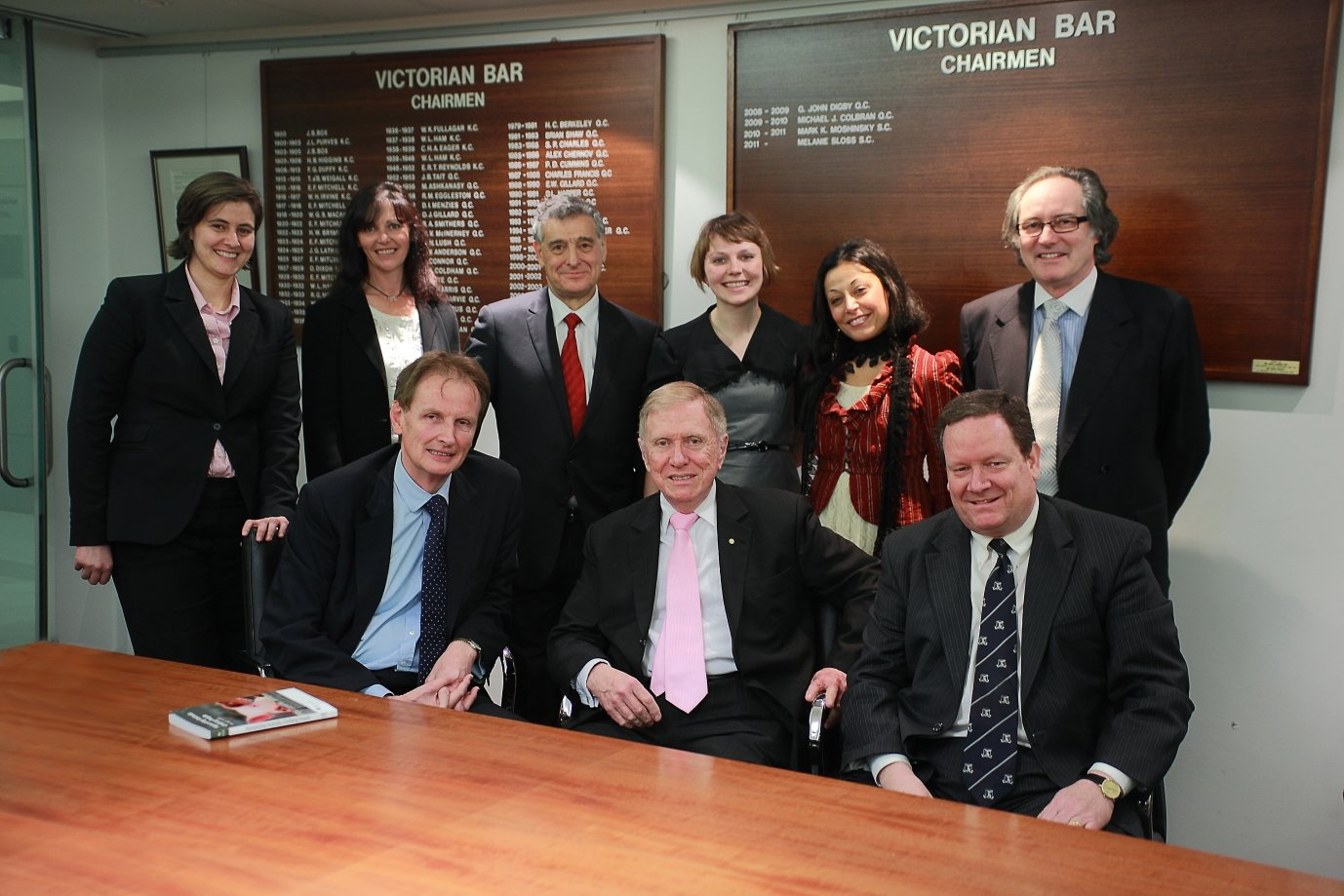 (Back row, l. to r.) Elizabeth Bennett of counsel; Debra Tranter of Oscar's Law; Jack Hammond QC; Anastasia Smietanka, Deputy National Co-ordinator, BAWP; Shatha Hamade, National Co-ordinator; Andrew Phillips of counsel.                    (Front row, l. to r.) Graeme McEwen; the  Hon. Michael Kirby AC CMG; Josh Wilson SC.